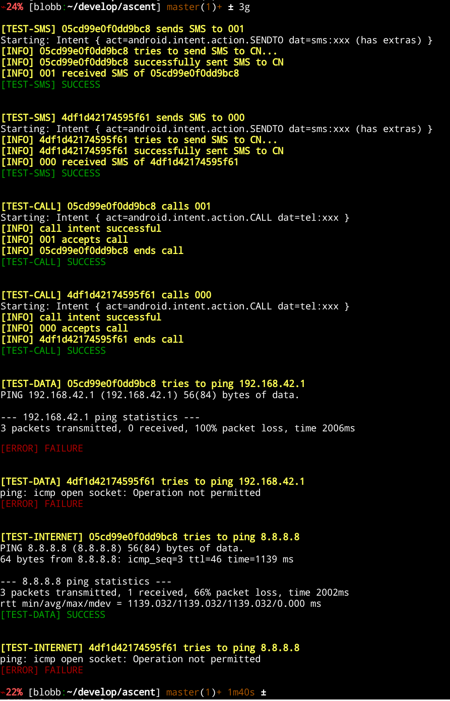 console output of './ascent 3g'