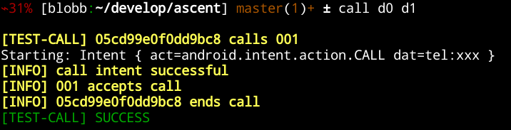 console output of 'call d0 d1'